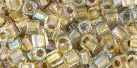 TOHO Cube 3mm-262 Inside-Color Crystal - Gold Lined - 10 g