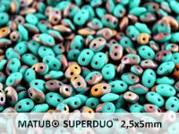 SuperDuo 2.5x5mm Matte Turquoise - Apollo Gold - 10 g