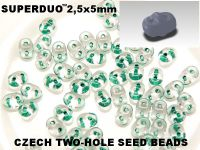 SuperDuo 2.5x5mm Green-Lined Crystal - 10 g