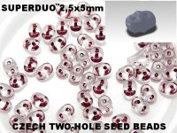 SuperDuo 2.5x5mm Garnet-Lined Crystal - 10 g