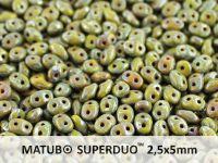 SuperDuo 2.5x5mm Opaque Olivine - Picasso - 10 g