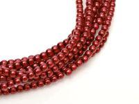 Perełki szklane ciemnoczerwone 2 mm - sznur