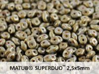 SuperDuo 2.5x5mm Opaque White - Copper Picasso - 10 g