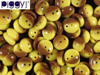 Piggy Beads Bicolor Yellow-Brown 8x4 mm - 20 sztuk