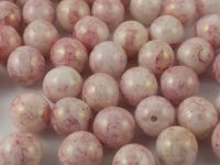 Round Beads Gold-Lustered Pink Marble 6 mm - 20 sztuk