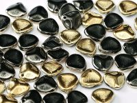 Rose Petals Gold 1/2 Coated Jet 8x7 mm - 10 sztuk
