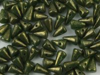 Spike Beads Green - Gold Melaphyr 8x5 mm - 20 sztuk