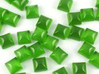 Kocie oko zielone kaboszon poduszka 6x6 mm - 1 sztuka