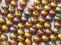 Round Beads Matte Metallic Iris Lt. Gold 6 mm - 20 sztuk