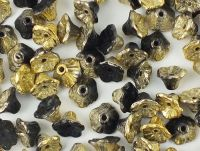 Flowers Gold 1/2 Coated Jet 7x4mm - 20 sztuk