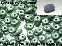 SuperDuo 2.5x5mm Luster - Metallic Green - 100 g