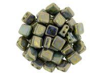 Tile 6mm Opaque Pale Jade - Bronze Picasso - 20 sztuk