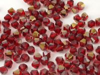 Bicone 4mm Light Siam Ruby Valentinite - 6 sztuk