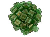Tile 6mm Gold Marbled Green Emerald - 20 sztuk