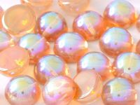 Dome Bead Crystal Orange Rainbow 14x8mm - 1 sztuka