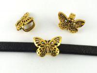 Przekładka do rzemienia prostokątnego motyl złoty 25x17 mm - 1 sztuka