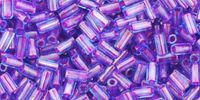 TOHO Bugle 1-252 Inside-Color Aqua - Purple Lined - 10 g