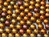 Round Beads Matte Metallic Iris Gold 6 mm - 20 sztuk