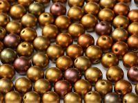 Round Beads Matte Metallic Iris Gold 6 mm - 20 sztuk