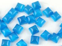Kocie oko niebieskie kaboszon poduszka 6x6 mm - 1 sztuka