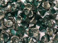Flowers Chrome 1/2 Coated Dark Emerald 7x4mm - 20 sztuk