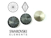 Rivoli Swarovski 12 mm Crystal Silver Night F - 1 sztuka