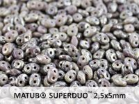 SuperDuo 2.5x5mm Opaque Lt Purple - Picasso Silver - 10 g