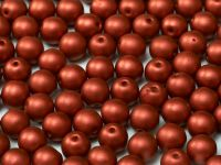 Round Beads Chalk Lava Red 6 mm - 20 sztuk