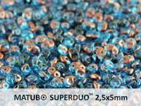 SuperDuo 2.5x5mm Aquamarine Semi Bronze - 10 g