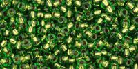 TOHO Round 11o-742 Copper-Lined Peridot - 10 g