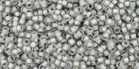 TOHO Round 15o-261 Inside-Color Rainbow Crystal - Gray Lined - 5 g