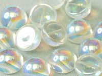 Dome Bead Crystal Green Rainbow 10x6mm - 1 sztuka