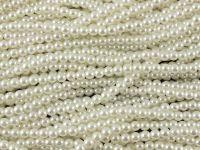 Perełki szklane białe 4 mm - sznur