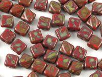 Silky Beads 6mm Opaque Lt Red Travertin - 20 sztuk