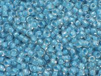 TOHO Round 8o-183 Inside-Color Lustered Crystal - Opaque Aqua Lined - 10 g