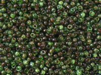 TOHO Round 11o-Y318F HYBRID Frosted Transparent Peridot Picasso - 10 g