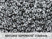SuperDuo 2.5x5mm Metallic Marble Silver - 10 g