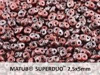 SuperDuo 2.5x5mm Metallic Marble Red - 10 g