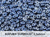 SuperDuo 2.5x5mm Metallic Marble Blue - 10 g