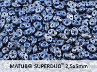 SuperDuo 2.5x5mm Metallic Marble Blue - 10 g