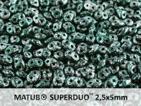 SuperDuo 2.5x5mm Metallic Marble Green - 10 g