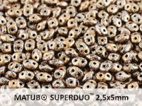 SuperDuo 2.5x5mm Metallic Marble Light Copper - 10 g