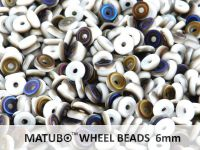 Wheel Beads White Azuro Matted 6mm - 5 g
