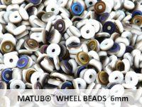Wheel Beads White Azuro Matted 6mm - 5 g