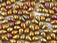 Puffy Teardrops Matte Metallic Iris Lt. Gold 6x4mm - 20 sztuk