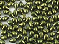 Puffy Teardrops Luster - Metallic Olivine 6x4mm - 20 sztuk
