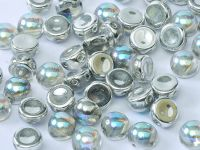 2-hole Cabochon Crystal Silver Rainbow 6mm - 2 sztuki