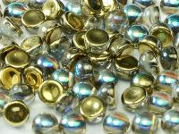 2-hole Cabochon Crystal Golden Rainbow 6mm - 2 sztuki