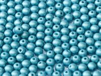 Round Beads Satin Metallic Blue Turquoise 6 mm - 20 sztuk