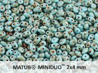miniDUO 2x4mm Blue Turquoise - Picasso Silver - 5 g